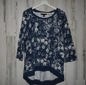 French Laundry floral navy blue white tunic top